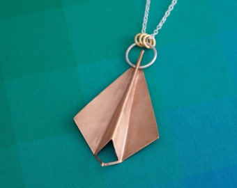 Origami Pendant Necklace, Folded Pendant