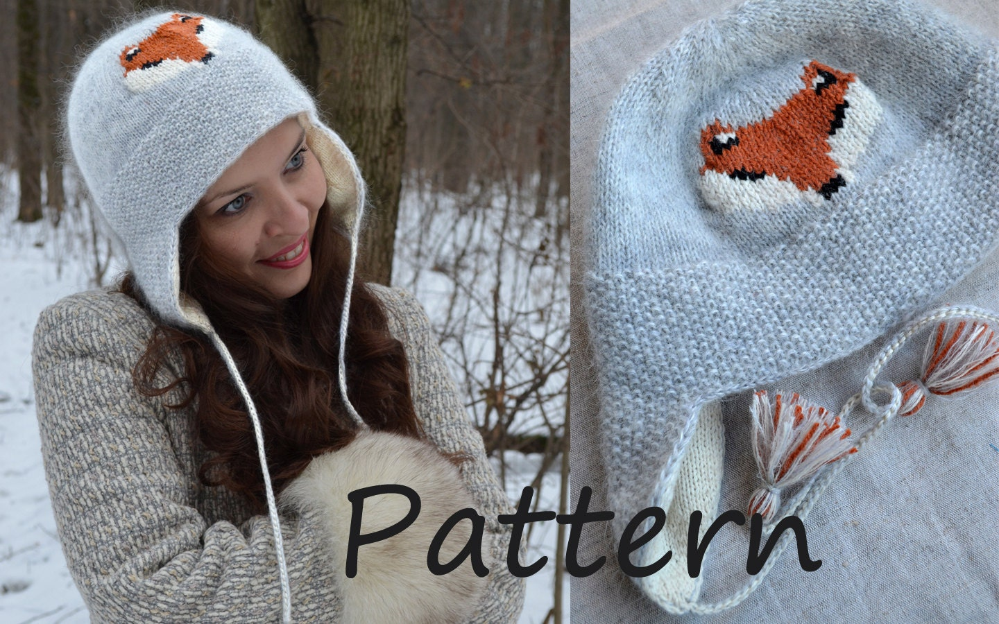 Knit And Purl Pattern : Earflap hat knit pattern Pattern Knitted trapper hat for