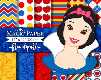 50% OFF SALE Snow White Digital Paper, Princess Scrapbook