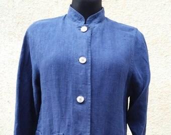 Linen Jacket, blue jacket, summer jacket, blazer, jacket, long sleeves jacket, Vintage Europe, M women clothes, womens jacket, flax jacket