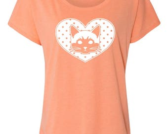 Dotty Heart Cat Design on Ladies Triblend Tees and Tanks