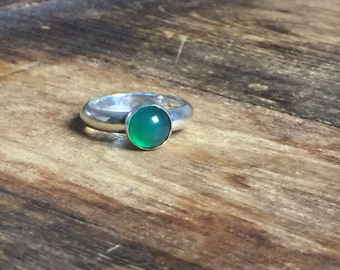 Silver Ring with Green Chalcedony