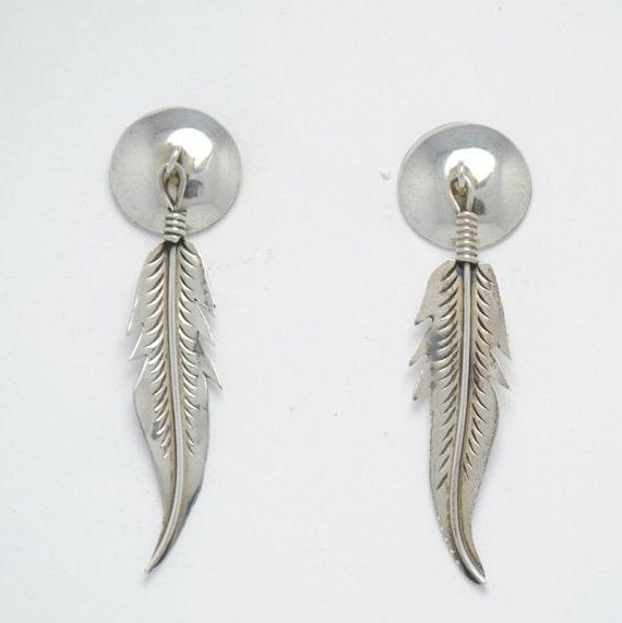 Boucles d'oreilles plume en argent - vintage