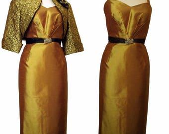 Pandora Silk Gold Dress complimented with Gold Brocade Silk Bolero