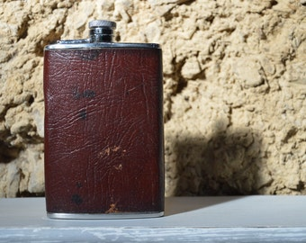 Leather Wrapped Stainless Steel Hip Flask. Vintage English 8oz Flask Steampunk Gift