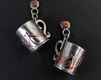 Hand Formed Sterling Silver and Copper Coffee Cup Dangle Stud Earrings with Branch Designs