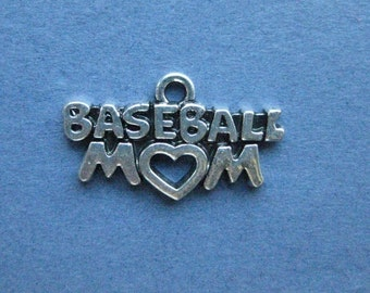 5 Baseball Mom Charms - Baseball Mom Pendants - Baseball - Baseball Charm - Sports Charm - Antique Silver - 23mm x 15mm - (D3-12143)