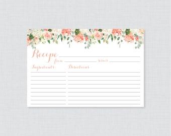 Peach Floral Bridal Shower Recipe Cards - Printable Flower Bridal Shower Recipe Card and Invitation Insert - Peach & Cream Recipe Cards 0028