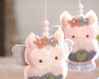 Baby Girl Mobile, Owl Baby Mobile Girl Handmade from Linen /FREE FedEx SHIPPING WORLDWIDE/ Nursery Mobile Girl, Pink & Grey Nursery Decor