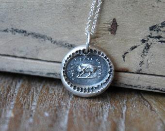 Pig wax seal fine silver charm