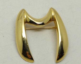 Vintage Gold Tone Letter 'M' Brooch