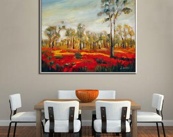 Flower Wall Art, Large Wall Art Flower Painting, Living Room Wall Art, Living Room Art, Canvas Wall Decor Painting Flowers