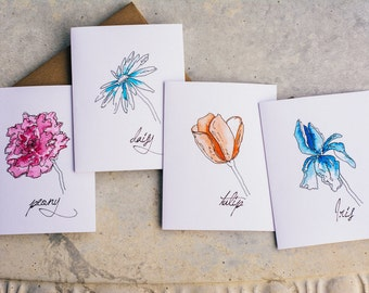 Spring Blooms, Handmade Watercolor Note Cards, Note Card Set, Blank Note Cards, Set of 8 Cards with Envelopes, Modern Floral Note Cards