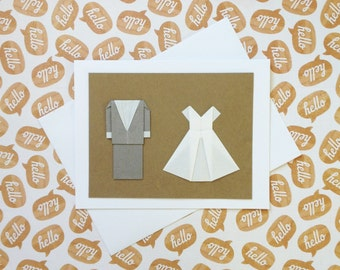Clearance - Minimalist Wedding Card: Traditional Wedding Card - Origami Wedding Card - Grey Suit White Dress - Mr and Mrs - Minimalist Card
