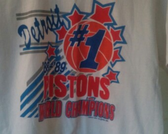 88-89 Detroit Pistons Championship  T Shirt  Medium/Large