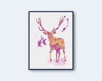 Deer Watercolor Poster 2