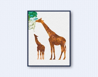 Giraffe Watercolor Poster