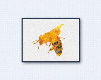 Bee Watercolor Poster