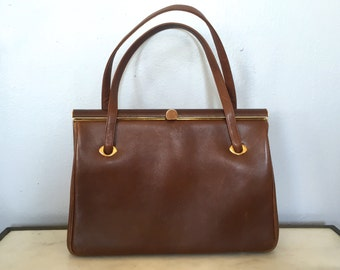 COBLENTZ Brown Leather Handbag, Vintage 1950's Cognac Brown/Gold Framed Leather Purse, Retro, Pinup Girl Purse, Grace Kelly