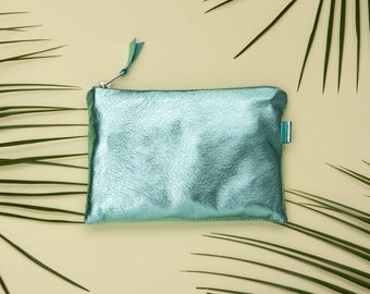 Aquamarine Metallic Leather Bag // Bridesmaid Gift // Birthday Gift // Small Leather Pouch  // Leather Travel Pouch // Metallic Leather