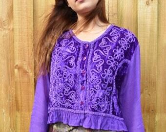 Vintage 90's purple gypsy long sleeve top