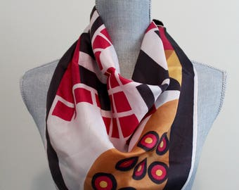 Art Deco Scarf | vintage 60s/70s patterned scarf