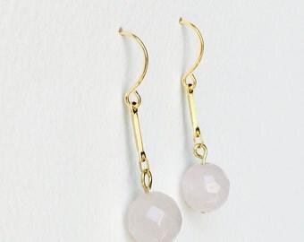 Natural Rose Quartz Gold Earrings, Rose Quartz Drop Earrings, Simple Gold Rose Quartz Earrings