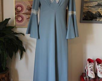 1970s Blue maxi dress
