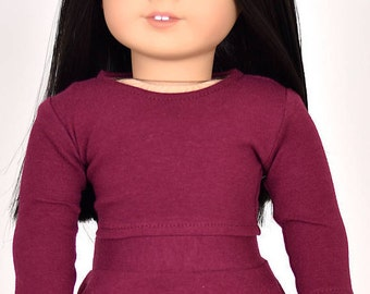 Long sleeve cropped top for 18 inch dolls Color Burgandy