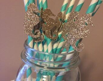 Gold Glitter Seahorse Turquoise Straws
