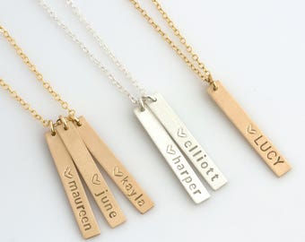 Skinny Vertical Bar Necklace,New Mom Necklace,Name Bar Necklace,Kids Names Necklace for mom,Gifts for Mom,LEILAJewelryShop,N209