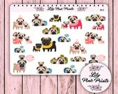 19 Mother's Day Pugs Stickers M-11 - Perfect for Erin Condren Life Planners / Journals / Stickers.