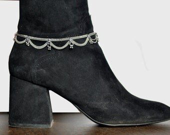 Anklet covers boots, Silver chain Ankle Bracelet, Belly Dance jewelry, Shoe jewelry, One or pair anklet