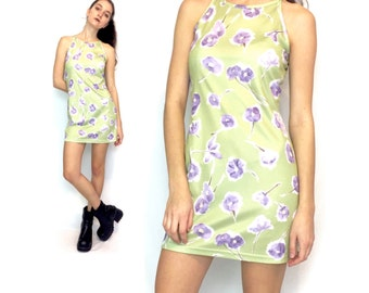 90s Neon Green and Purple Floral High Neck Sleeveless Halter Mini Dress Size Small