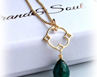 Emerald Necklace Moroccan Style Necklace On Gold - MAY BIRTHSTONE - Gift For Her