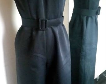 Vintage Black Jumpsuit with Matching Belt - Medium
