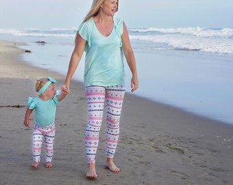 mothers day gift - matching mommy and me leggings - mother daughter outfits - matching outfits - women leggings - baby leggings - new mom