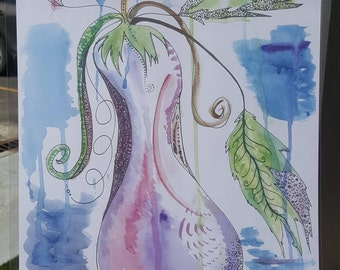 "Abstract Pen and Ink Watercolor Print "" Summer Eggplant"""