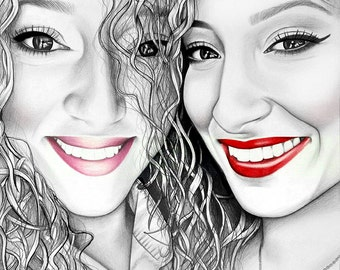 """Custom pencil portrait. 18x24"""" Realistic pencil drawing. Personalized drawing. Sisters present."""