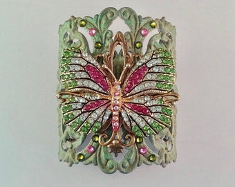 Butterfly Jewelry | Butterfly Cuff | Pink Butterfly Bracelet | Filigree Butterfly Cuff | Spring Wedding Cuff | Crystal Butterfly Cuff