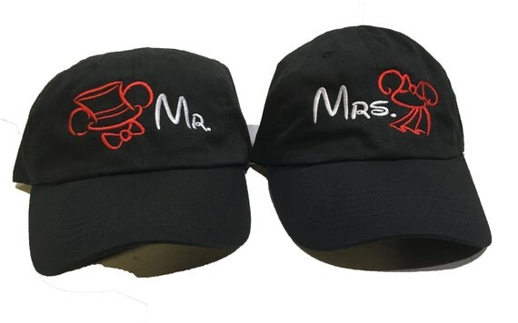Set of Ball Caps Mr and Mrs. - with Disney Theme TopHat and Bows Ball Cap
