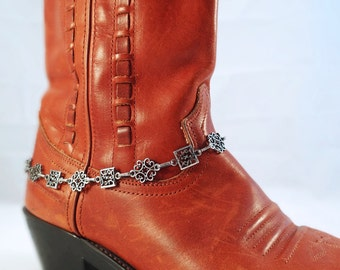 Antiqued silver boot bracelet, Victorian boot chain, Filigree chain boot anklet, Boot bling, Cowgirl boot bracelet, Cowboy boot bracelet