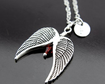 Silver Angel Wing Charm Necklace, Angel Wing Pendant, Angel Wing with Garnet Jewelry, Personalized Necklace, Initial Charm, Initial Necklace