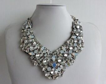 Statement necklace, Stunning necklace, Strass necklace, Olivia necklace, Collar necklace with rhinestone and Swarovski strass IV171