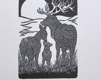 Deer linoprint full moon
