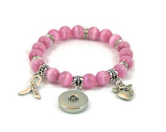 Jewel SNAP! Snap bracelet with pink glass beads + breast cancer silver charm / / gift wife daughter birthday party rebel Passion