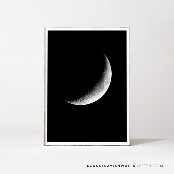Moon wall art, moon prints, moon poster, la luna, moon, affiche lune, minimalist wall art, gift for her, moon phases, black and white