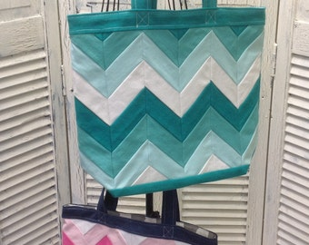 Bleu Redux (Colors too!) Upcycled Four Chevron Tote