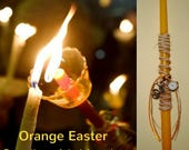 Beige-Orange Easter Candle, Decorative Vintage-style Bicycle Pocket Watch / Key Ring, Unique Orthodox Easter Candle - Greek Easter lambada