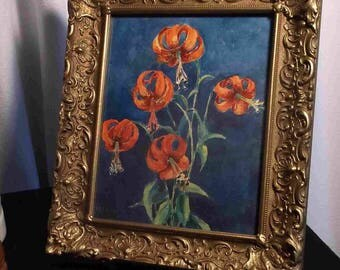 Listed Harry Thompson 1885 1968 Tiger Lilies Lily w/c floral still  life signed